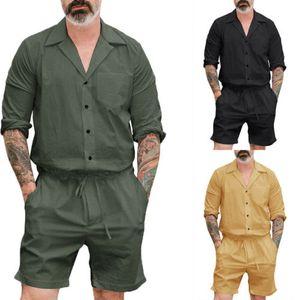 Black Suits New Men Short Romper Sleeve Casual Cargo Pants Jumpsuit Siamese Trousers Playsuit CA 2pc