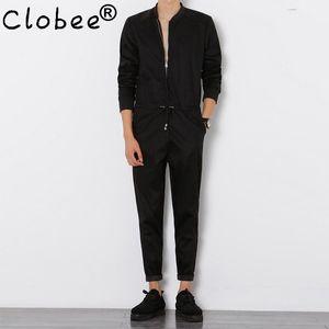 Clobee para hombre del mono Manga larga Trajes de Hombre fresco elegante traje de trabajo Slim Fit Harem Hip-Hop Pantalones Negro Mono