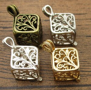 2PCS Essential Oil Diffuser Locket for Oyster Pearls 24*13*13mm Cube Cage Pendant Fitting 8mm Beads 4 Colors Available-WY1438