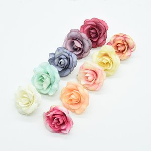 Multicolor 10pcs 4cm artificial flowers for home wedding decoration accessories diy needlework gifts fake flowers wall silk rose