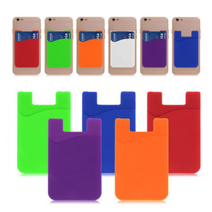 Fashion Phone Silicone Card Set Universal Ultra Slim Soft Card Pocket For iPhone X Sumsung S9 Cellphone Credit Card Holder Free DHL