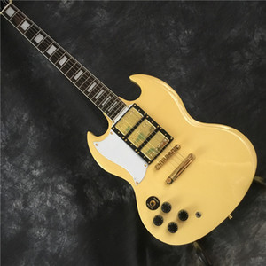 New release SG type left-handed electric guitar, yellow and gold 3 pickups, free shipping
