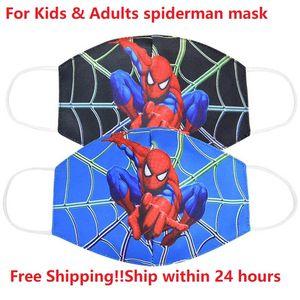 Máscara reutilizable Spiderman Unisex transpirable Dibujos de algodón a prueba de viento anti-polvo Anti polución y la boca mascarillas faciales para los niños adultos