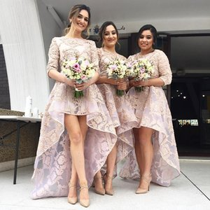 Country Style High Low Pink Lace 2020 Bridesmaid Dresses For Wedding Party Guest Gowns Jewel Neck Half Sleeve Maid Of Honor Dress