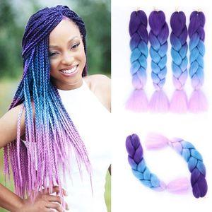 Ombre Kanekalon Jumbo Synthétique Tresse Cheveux Crochet Blonde Rose Rose Bleu Bordeaux Gris Extensions de Cheveux Jumbo Braids