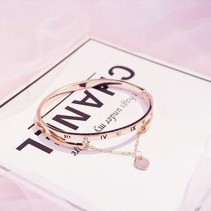 Wholesale- Rose Gold Stainless Steel Bracelets Bangles Female Heart Forever Love Brand Charm Bracelet for Women Famous Jewelry
