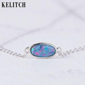 KELITCH 925 Sterlingsilber-Halskette Erstellt Opalhalskette Oktober birthstone-Halskettenbrautschmucksache-Geschenk für Frauen-Mädchen