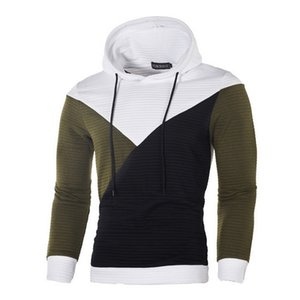 2019 gym Spring and Autumn Fashion European Men's Fashion Stitching Coloured Pullovers, Hats and Guards Men's Hoodies