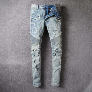 Balmain Jeans Mens Slim Fit Ripped Jeans Men Hi-Street Mens Distressed Denim Joggers Buracos joelho Lavados Destruído 22 cores estilo Jeans