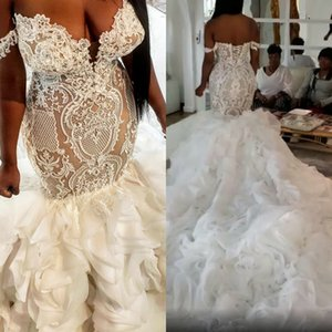 Plus Size Arabic 2020 Ruffles Mermaid Wedding Dresses Off The Shoulder Lace Appliqued Bridal Gowns Beaded Chapel Train Wedding Dress