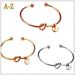 Bracelets Europe United States knotted bracelets personality wild three-color 26 letters free combination bracelet wholesale knot bangle