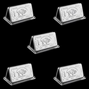 5pcs liberan el envío al por mayor de 1 onza Troy alemana del lingote de plata Buffalo Bar monedas alemán astilla 999 American Buffalo Bar