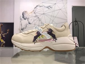 2020 xshfbcl Mens Rhyton Leather Sneaker with Wave Mouth Web Print Womens Luxury Designer Sneakers Vintage shoes Trainers Dad Shoes