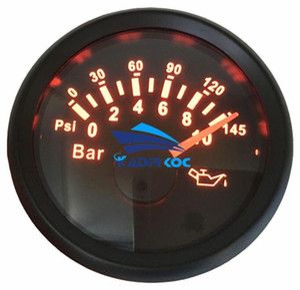 1 52mm 포인터 유형의 팩 오일 압력 게이지 0-10Bar / 0-145Psi 오일 압력 측정기를 설정 팩 레드 백라이트 9-32v 자동 트럭