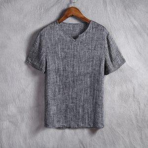 Shan Bao Бренд в китайском стиле, мужская одежда, тонкий срез из льна, повседневная футболка с короткими рукавами, мужская футболка, чистый цвет, V-образный вырез Y19042603