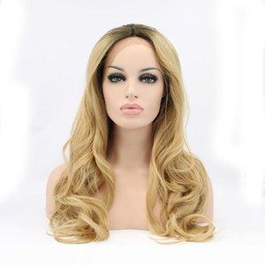 frente del cordón del pelo sintéticas peluca de pelo real 1b # rubia 27 # lado libre parte media 26inch 150%