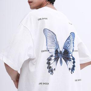 Oversize camiseta Hip Hop 2020 Homens Streetwear Camiseta Borboleta Imprimir Harajuku Summer manga curta T-shirt de algodão cobre T frouxo