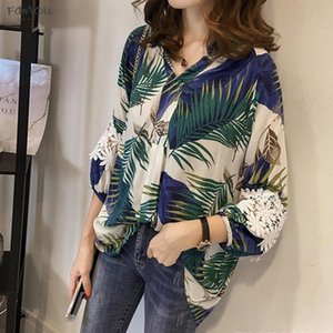 Women Vintage Floral V Neck Long Sleeve Blouses Long Sleeve Loose Shirts Lace Patchwork Casual Plus Size Blusas Femininas European 4Xl