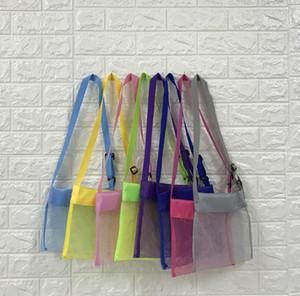 24*25cm Kids Beach Mesh Bag Shell Storage Net Bag Adjustable Straps Tote Toy Mesh Outdoor Handbag 8 Colors SN881