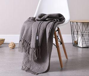 130 см * 160 см вафельное плетение плед одеяло северный стиль бахромой тонкий бросить одеяло диван-кровать лето кондиционер путешествия