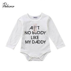 Pudcoco Новорожденных младенцев Мальчики Одежда хлопок с длинным рукавом O-образный вырез Bodysuit Нижнего 0-24 месяцев Helen115