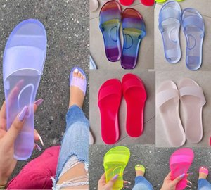Women Crystal Sandals Summer Slippers Solid Color Flip Flops Fashion Platform Flat Slide Slipper Outdoors Beach Home Shoes 5 Color Gifts