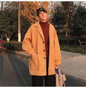 Lana Mezclas otoño solo pecho abrigos para hombre ulzzang suelta prendas de vestir exteriores de gran tamaño Adolescente del diseñador del Mens Fashion Coats