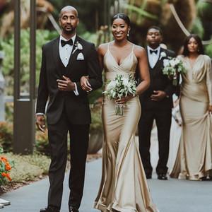 Nigeria africana ragazze sirena abiti da damigella d'onore per matrimoni 2019 oro misto stili pieghe pieghe increspature abito da sposa lungo ospite