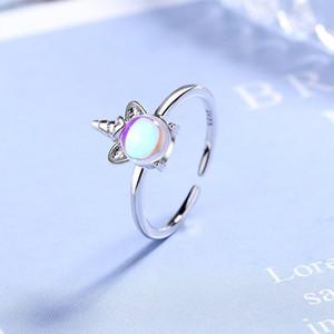 Amanti regali argento 925 Fancy Unicorn Opal anelli di misura adattabile Finger per monili delle donne di nozze anello aperto argento