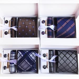 2019 Plaid Neck Tie Set Streifen Krawatte Männer Seidenkrawatte Paisley British Business Krawatte Hanky Set Hochzeit Party Zubehör