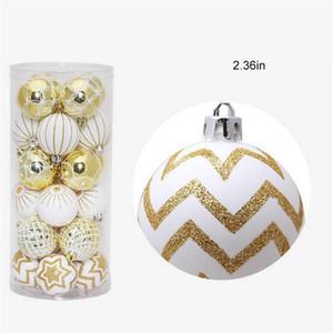 Gros-24pcs / lot d'arbre de Noël Décor Boule Boule de Noël Hanging décorations de Noël Party ornement pour Noël Accueil de 6cm