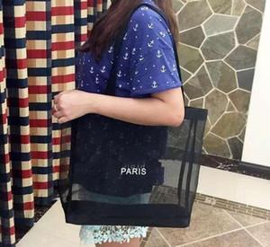 Designer-HOT! Compras logotipo branco clássico malha saco padrão de luxo Travel Bag Mulheres Wash Bag Cosmetic Makeup armazenamento de malha Caso