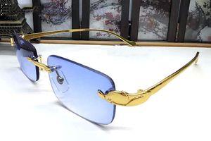 2018 hommes lunettes de soleil corne de buffle Rimless lunettes verre transparent femmes cadres cadre métallique en alliage léopard d'or lunettes Gafas