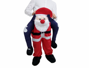 Père Noël Carry Me Costumes Mascotte Ride On drôle de fête de Noël Halloween ferroutage Robe Taille adulte
