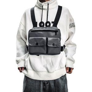 Men Tactical Shoulders Bags Men Functional Waist Packs Adjustable Pockets Street Hip Hop Chest Vest Packs
