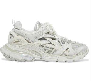 Hombres Mujeres Zapatos Casual Pista 2 zapatillas de deporte 19FW pista2 blanco con cordones de las zapatillas de jogging 3M Triple S Chaussures Senderismo