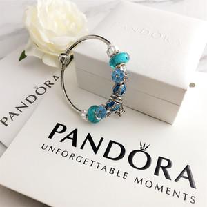 Encanto de los granos aptos para joyería pandora 925 encantos de plata pulseras azules del copo de nieve colgante brazalete de la joyería de DIY con la caja de regalo original