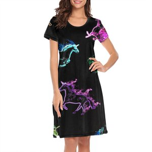 Nighties for women colorful fire unicorn horse design sports cute short sleeve nightdress blue happy unicorns and flower pink Vomit Cute