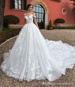 Modest Princess Off Shoulder Lace A Line Wedding Dresses Appliques Court Train Bridal Gowns Wedding Dress Plus Size vestidos de noiva