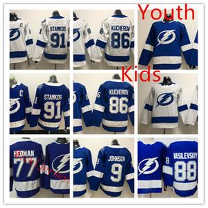 Juventude Tampa Bay Lightning Steven Stamkos Jersey Crianças Tyler Johnson Nikita Kucherov Victor Hedman Andrei Vasilevskiy relâmpago Jersey