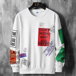 재미 까마귀 남성 미용 의류 스트리트 하라주쿠 스웨터 남성 스웨터 남성 캐주얼 스포츠웨어 힙합 땀을 인쇄