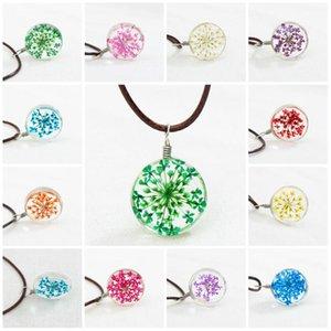 Halsketten Party Mode Blume Anhänger Leder Ball Kristall Glas Halsketten getrocknete Blumen Anhänger Halskette