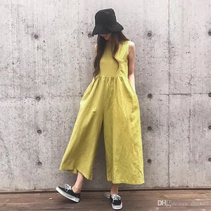 Johnature New Casual Japanese Plus Size Linen Sleeveless Ankle-length Women Jumpsuits 2020 Summer 3 Colors Pockets Playsuits