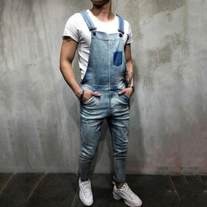 HEFLASHOR2019 Summer Mens Casual Polyester Soild Slim Fit Plus Size 2XL Overalls Vintage Full Length With Pocket Male Jeans