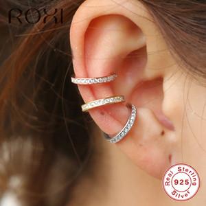 Roxi 925 plata esterlina Pequeño clip del oído del manguito en los pendientes de la forma de las mujeres no aretes geométrica C earcuff Wrap
