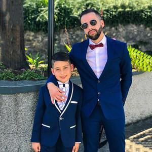 Ropa formal personalizado Dos Piezas Slim Fit Boy mantón blanco de la solapa de un botón Trajes de boda esmoquin niños