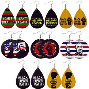 Creative Water Drop PU Leather Earrings Printed Letters I CANT BREATHE Leather Earring Dangle Teardrop Round Ear Hook Eardrop Jewelry Gifts