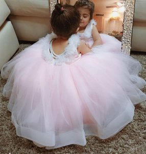 2020 Lace Pearls Flower Girl Dresse Backless Ball Gown Tulle Little Girl Wedding Dresses Cheap Communion Pageant Dresses Gowns F302