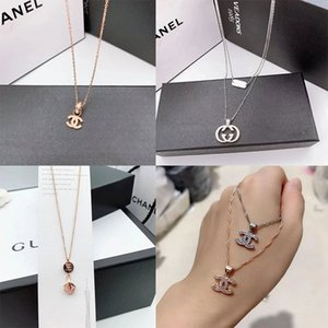 Neue Designer-Halskette Berühmte C Brief Luxuxhalskette Kristall Diamant-Anhänger Halsketten Frauen Perlenketten Schmuck 9 Styles