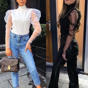 여성 여성 여름 메쉬 퍼프 긴 소매 셔츠 느슨한 캐주얼 블라우스 우아한 터틀넥 솔리드 파티 Clubwear 부드러운 옷